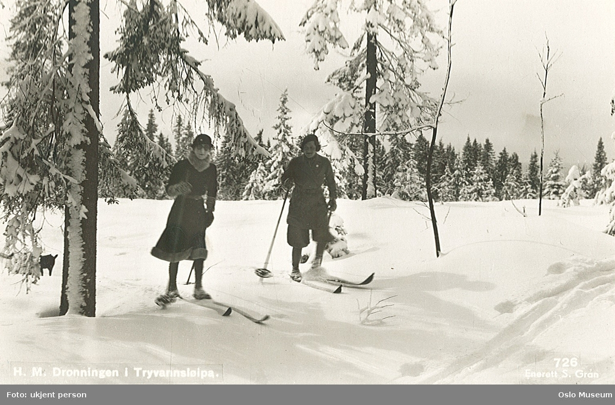 kvinner, dronning, skitur, skog, snø