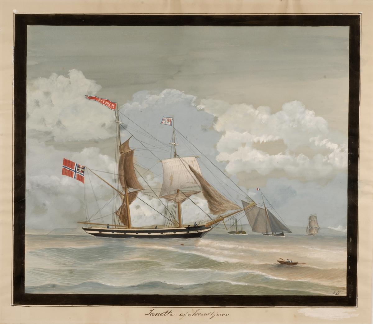 Briggen Jeanette  av Trondhjem på sjøen. Et par andre seilskip i bakgrunn og en robåt i forgrunn.