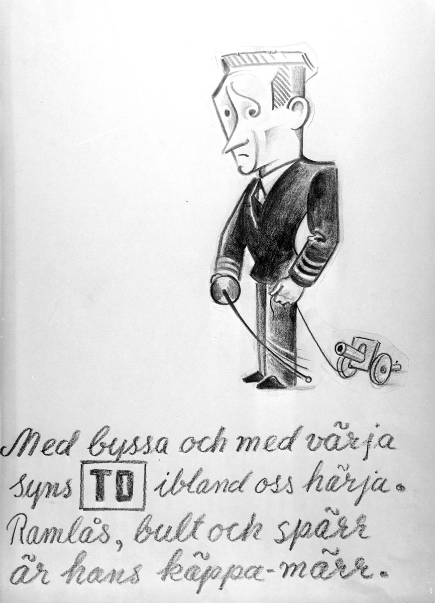 Karikatyrbild av militär ur flygvapnet, 1930-tal.  Märkt 'TO'.   Avfotograferad teckning.