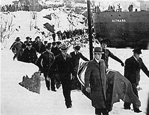 Altmark i Jøssingfjorden hvor de omkomne tyske sjømenn bringes i land.