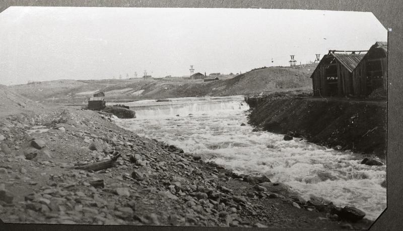 Historisk foto av hyttdammen,  ca 1910-1915