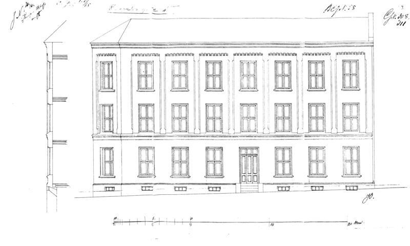 Tegning av fasaden fra byggemeldingen 1865.