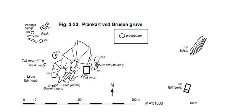 Plankart ved Grusen gruve (Foto/Photo)