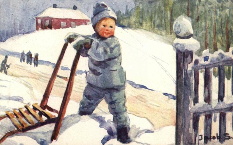 Julekort barn med spark (Foto/Photo)