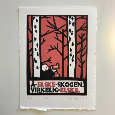 Å elske skogen, Andreas Brekke, Lino/boktrykk, 20x25,5cm kr 1400,- (Foto/Photo)