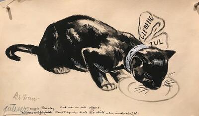 William Lunden, original tegning, Svart katt god jul, 35x20cm, kr 2000 Selges på vegne av familien. (Foto/Photo)