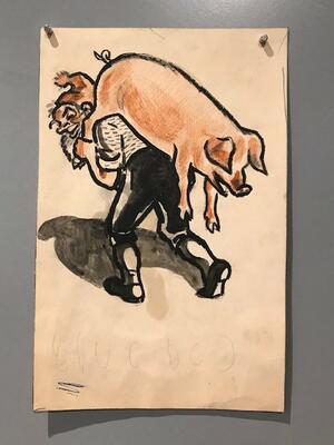 """William Lunden, original tegning til ikonisk """"Nisse med gris"""" julekort fra 1943, 14x20cm, kr 2500 Selges på vegne av familien. (Foto/Photo)"""