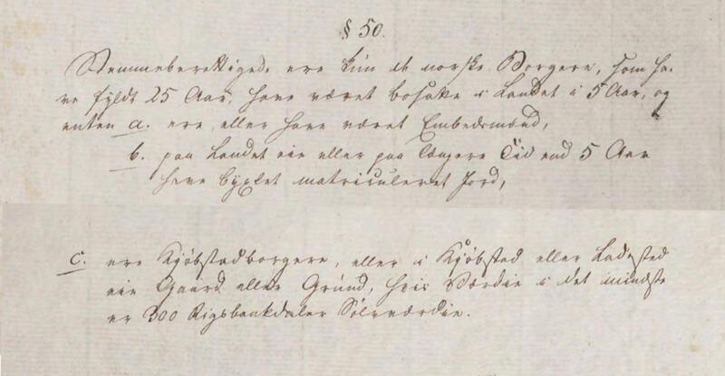 Utdrag fra Grunnloven av 17.mai 1814: §50 står nederst på side 14 og øverst på side 15. (Foto/Photo)