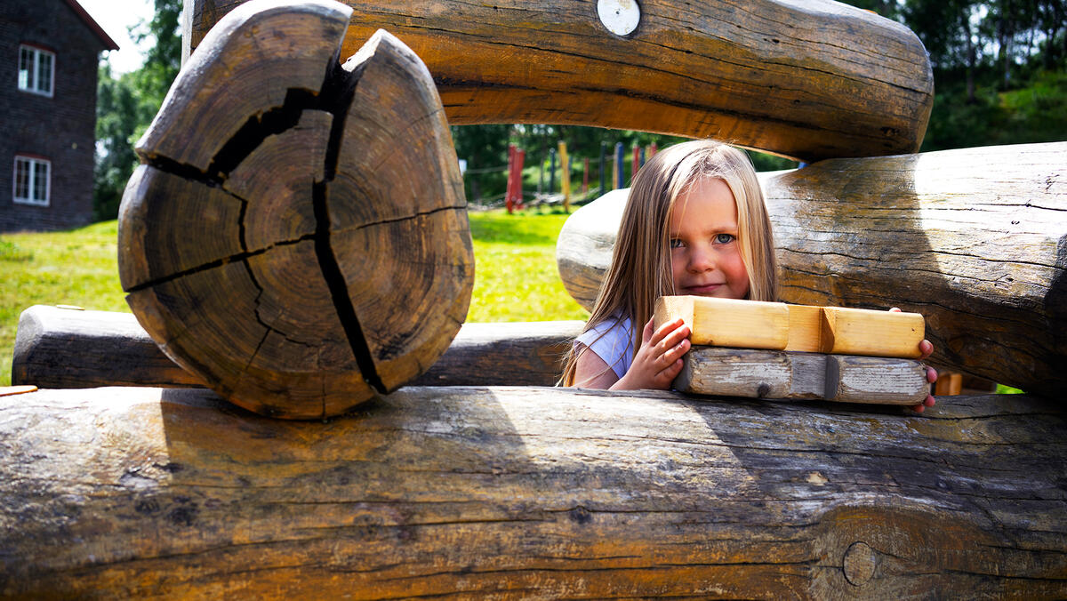På Doktortjønna kan barna leke seg på forskjellige apparat, samt lafte sin egen lille hytte. (Foto/Photo)