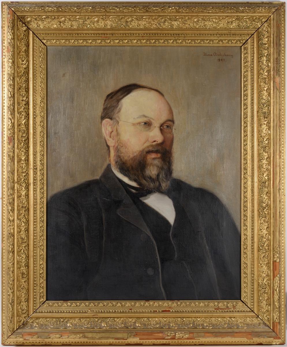 Portrett av sogneprest Thorkild Aschehoug Signert øverst til høyre av Dina Aschehoug 1895