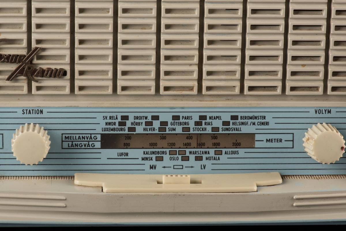 """Transistorradio med hölje av ljusblå plast.  Framsida har ett vitt plastgaller framför högtalaren och ett guldfärgat märke """"LUXOR/RADIO"""". Därunder finns två rattar för inställning av våglängd och ljud. Baksidan i ljusblått har ett galler på den övre delen. Öven sidor och ovansidan är ljusblåa."""