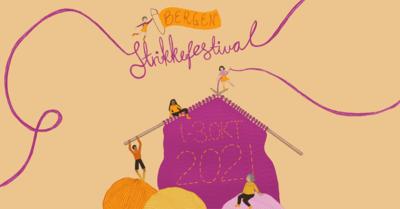 menneske med strikkepinnar og store garnnøste. Illustrasjon, Bergen Strikkefestival 2021. Foto/Photo
