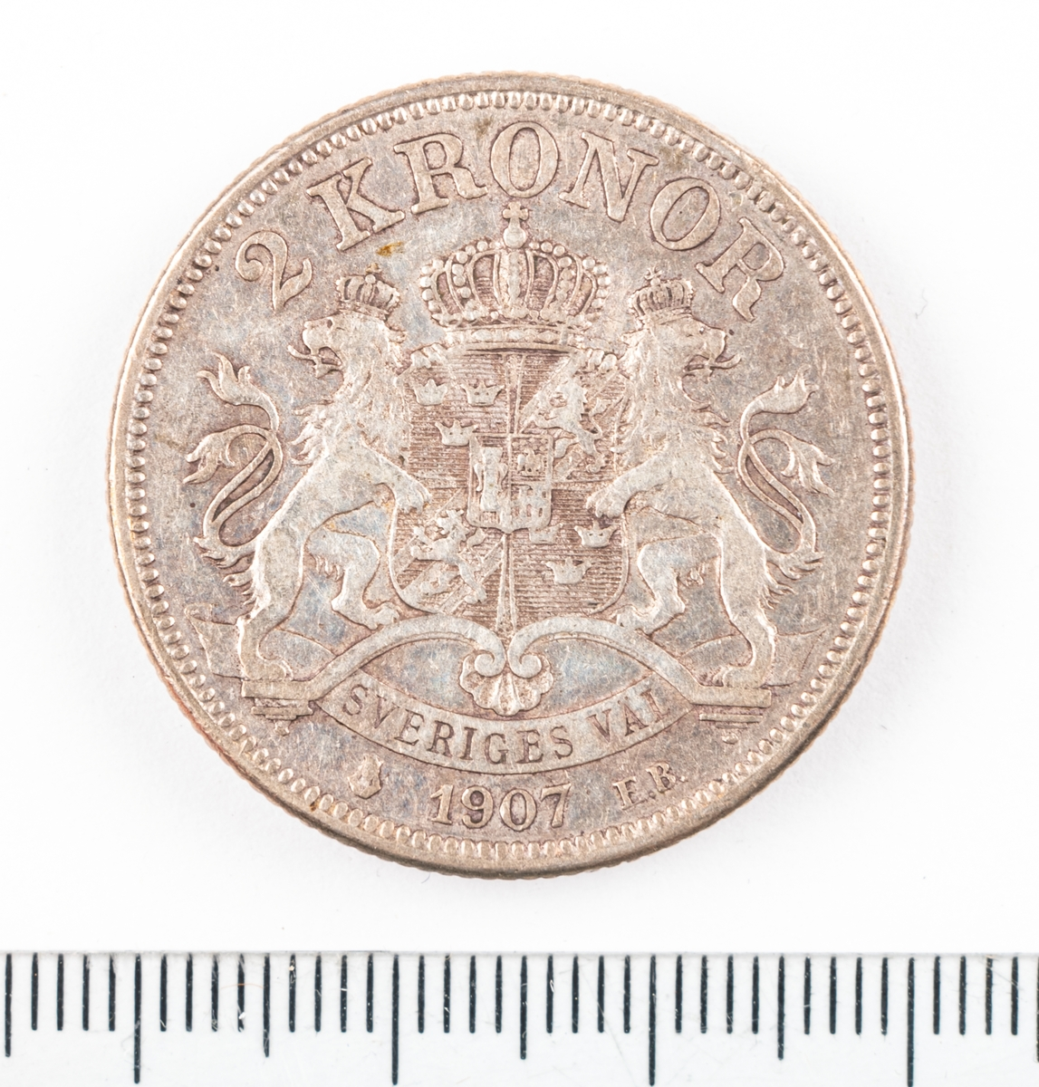 Mynt, Sverige, 2 kronor, 1907.