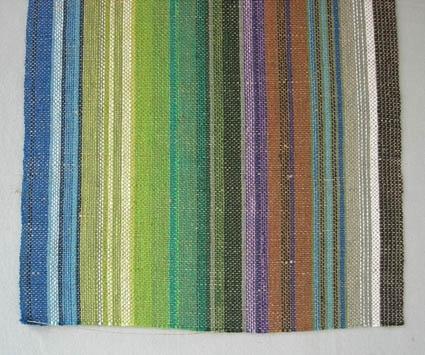 """Löparväv """"Från kust till kalfjäll"""", här vävd i tuskaft. Beställt i kypertteknik av Landstinget till landstingsmötet 1975. Pris 75:- per meter. Vävt ca 1000 meter av ca 14 väverskor ute i byarna.Varp randad oregelbundet av blått, ljusblått, grönt, ljusgrönt, blågrönt, grått, mörkbrunt, brunt, rödbrunt, blålila, lila och blekt cottolin 22/2. Till inslag oblekt towgarn. Dublett finns med måtten l=1320 mm och b=290 mm."""