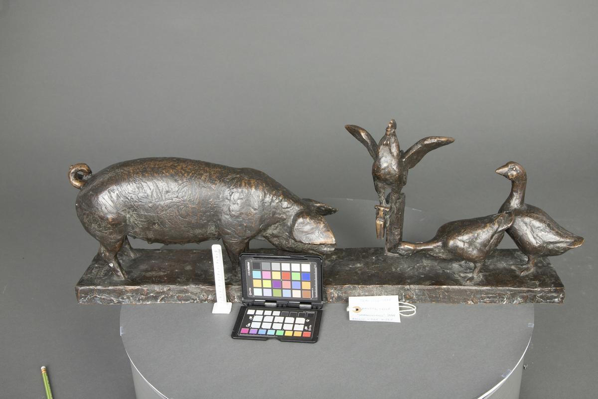 Småbruksidyll [Bronseskulptur]