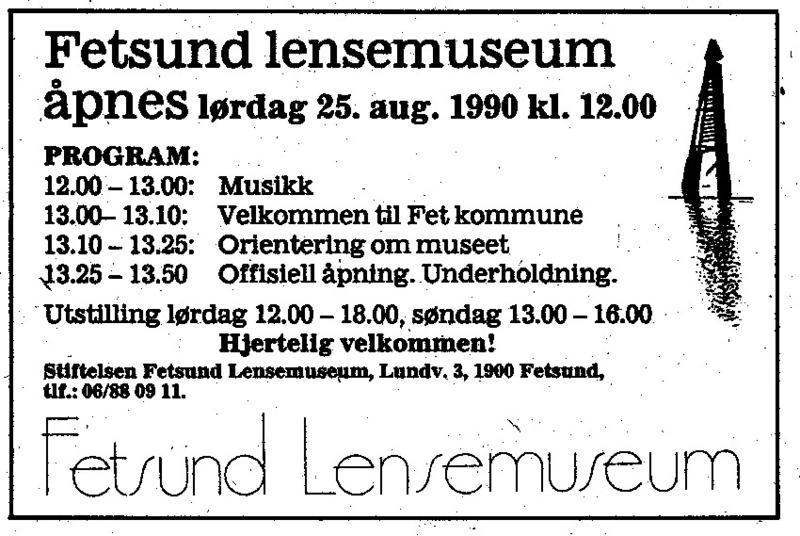 Annonse fra lensemuseets åpningsdag (Foto/Photo)