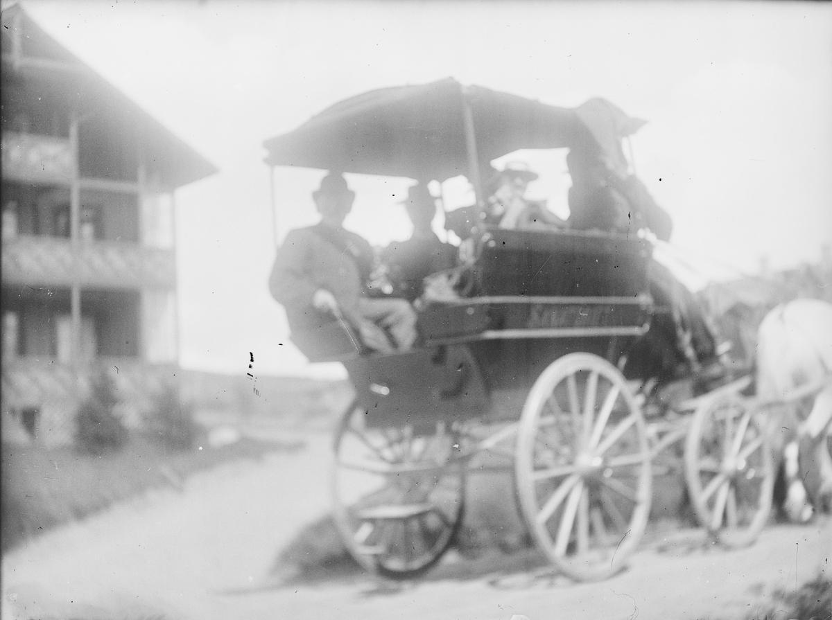 En gruppe menn sitter i en vogn, sannsynligvis en wagonette, med to hester fastspent.