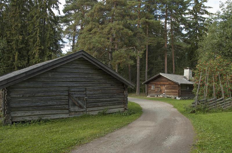 Grusveg som leder inn mellom et grått tømmerhus til venstre og et brunt tømmerhus med flistak til høyre. Rundt husene ligger høye furutrær. (Foto/Photo)