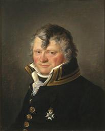 Portrett av Anders Rambech. Mørk uniform. Orden festet på brystet.