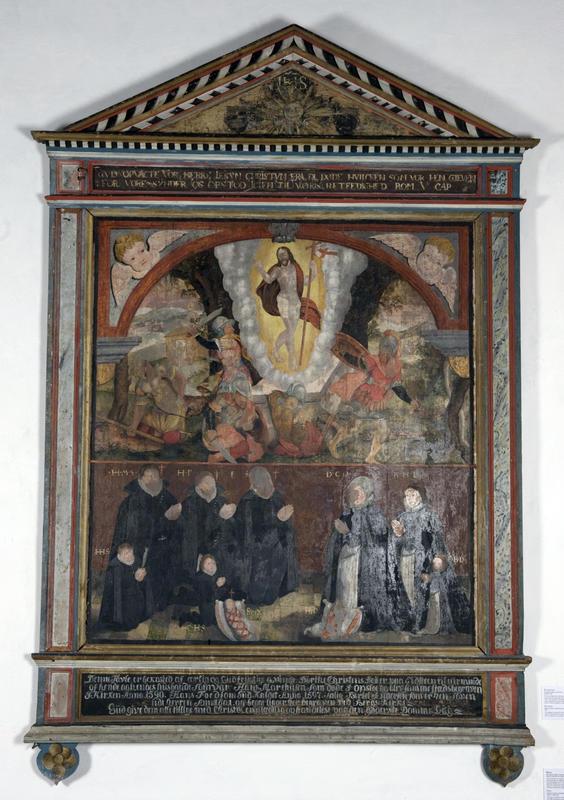 Epitafiet (minnetavlen) fra Berg kirke, datert 1601, er bekostet av Dorthe Christensdatter til minne om henne selv, hennes barn og tre avdøde ektemenn.