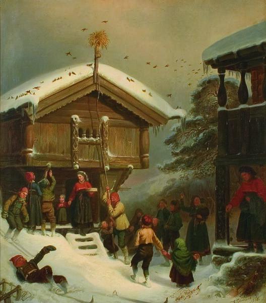 Adolph Tidemand Norsk juleskik (1846). Foto/Photo