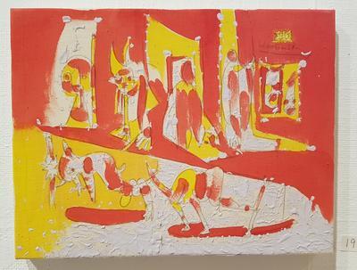 Uten tittel, ca. 1985. Blandet teknikk på lerret. 27x35 cm. Kr. 10.000