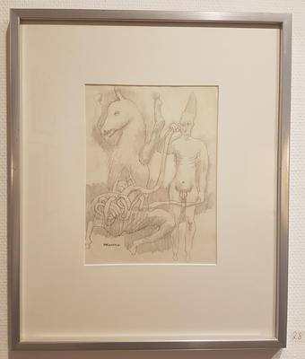 Blyanttegning, uten tittel. Tegning. 50x42 cm. Kr. 3.333