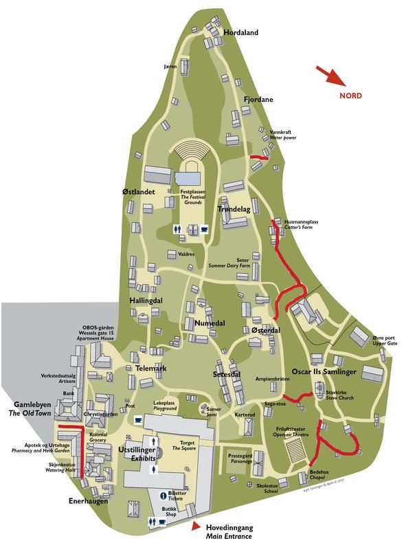 Kart over Friluftsmuseet på Norsk Folkemuseum med vanskelig tilgjengelige partier