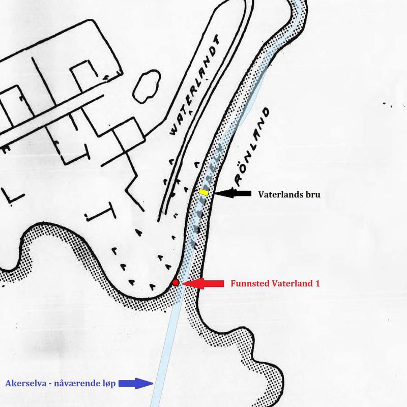 Kart over indre Oslo havn fra 1600-tallet som viser hvor Vaterland 1 ble funnet, Akerselvas nåværende løp og Vaterlands bru. (Foto/Photo)