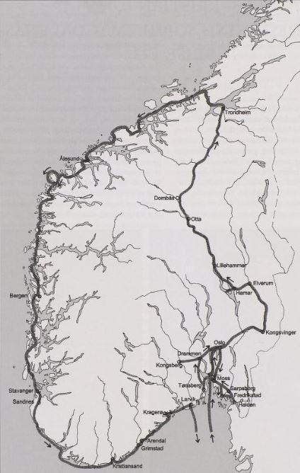 Kart over stedene i Sør-Norge som Christian 6. besøkte i 1733.