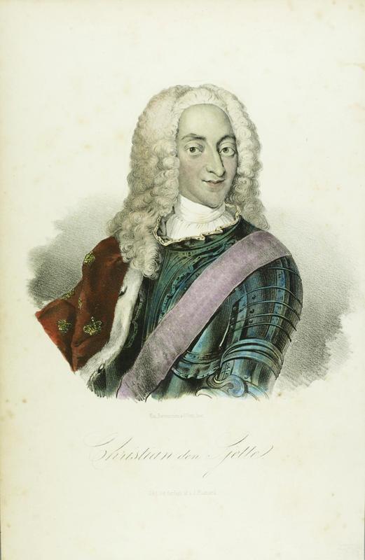 Portrett av Christian 6. med hermelinskappe og rustning.