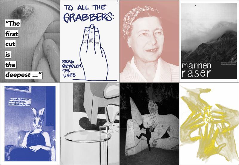 Åtte plakater fra Between the Lines-utstillingen.