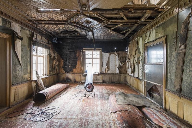Hjørneværelset etter brannen i 2015. Foto: Erik Børseth (Foto/Photo)