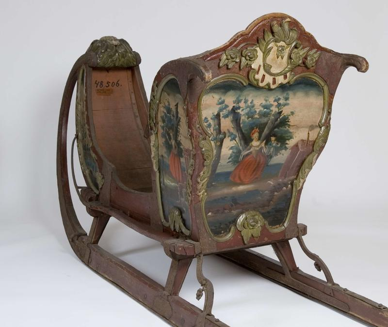 Denne sleden fra Biri malt av Peder Aadnes på slutten av 1700-tallet inngikk i utstillingen.