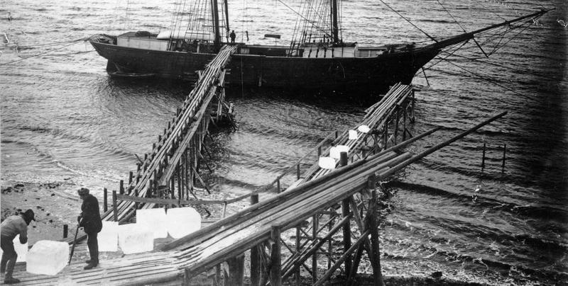 Svart-hvitt foto av fartøy med to master, i forgrunnen to mann som laster is ombord. (Foto/Photo)