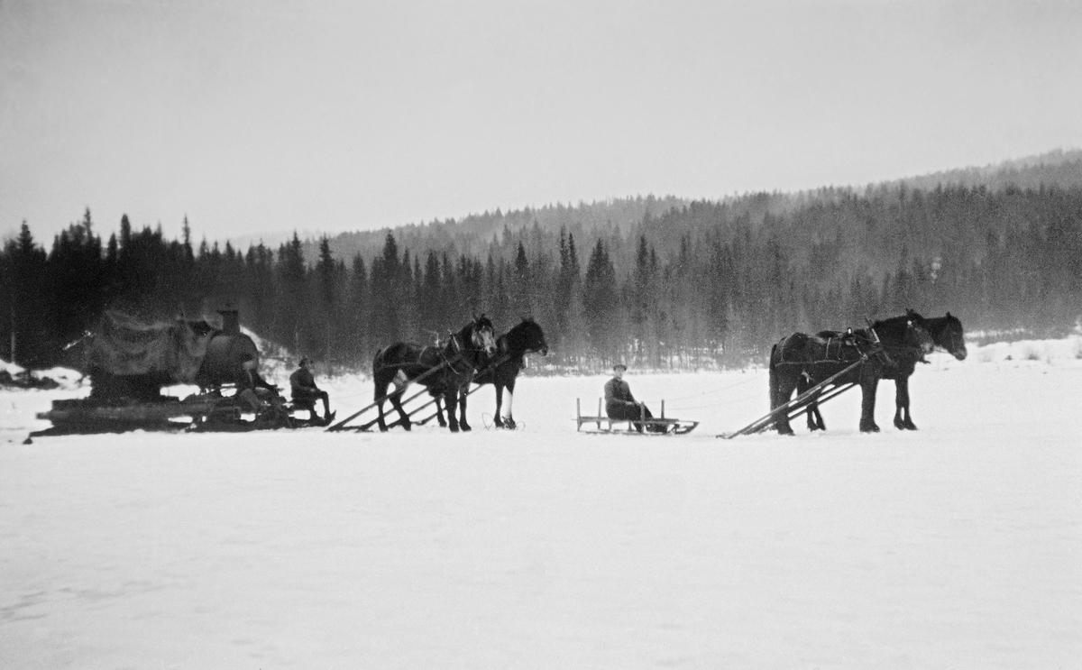 Transport av lokomobil som skulle drive et mobilt sagbruk over de snødekte isen på Frysjøen i Grue i Solør vinteren 1920.  Dampmaskinen var plassert på ei ramme som sto på to tømmerrustninger som ble trukket av hver sin hest og med hver sin kjørekar.  Framfor dem satt det en mann på en mindre, sledeliknende doning, som også ser ut til å ha vært forspent to hester.  Lokomobilen er en transportabel dampmaskin.  Ideen om å bruke damptrykk som energikilde for maskiner er gammel, og på andre halvdel av 1700-tallet fant engelske teknikere løsninger som gjorde at dampkraft kunne brukes i gruveindustrien, etter hvert også på andre virksomhetsområder.  Tidlig på 1800-tallet kom den første dampmaskinen på hjul - en lokomobil - som forholdsvis lett kunne flyttes fra ett sted til et annet.  På andre halvdel av 1800-tallet ble slike maskiner introdusert i de norske primærnæringene.  I jordbruket ble de trukket fra gard til gard for å drive treskeverk, og i skogbruket ble lokomobilene bruk til drift av små, transportable sagbruk.  Lokomobilteknologien gjorde slik virksomhet uavhengig av vassdrag med fossefall, som hadde drevet de tradisjonelle oppgangssagene.  Lokomobilene trengte vann og brensel til dampkjelene.  Som drivkraft for en mobil sagbenk gjorde disse dampmaskinene det mulig å produsere trelast på avsidesliggende steder i skogene,  På denne måten reduserte man også volumet og vekta på de verdiene som skulle kjøres ut av skogen.  Lokomobilsagene kunne stå på samme sted gjennom en hel vinter, men de kunne også flyttes og brukes på et par forskjellige steder i løpet av samme sesong.  De første lokomobilsagene i Norge ble satt i drift i 1870-åra, og bruken av denne teknologien ebbet ut omkring 1930, da det var kommet langt lettere forbrenningsmotorer og elektromotorer som kunne yte like god trekkraft til sagbenkene.
