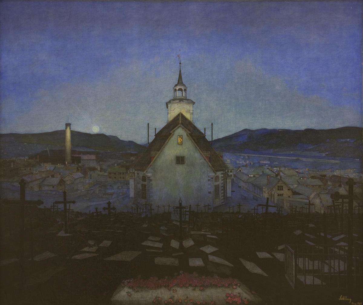 Harald Sohlberg, Natt (Røros Kirke), 1904. Trondheim kunstmuseum.