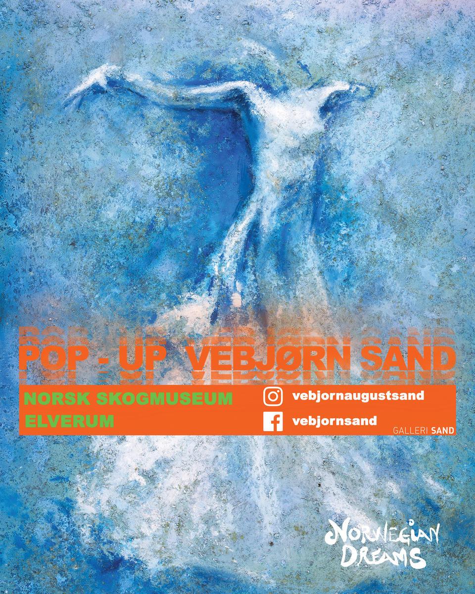 Plakat av Pop-up utstilling med Vebjørn Sand.