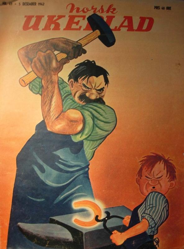 Per Holck tegnet Stalin som smed og Hitler som læregutt på Norsk Ukeblad i 1942
