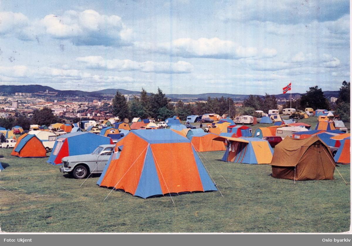 Ekeberg Camping, telt, campingvogner, biler. Postkort.
