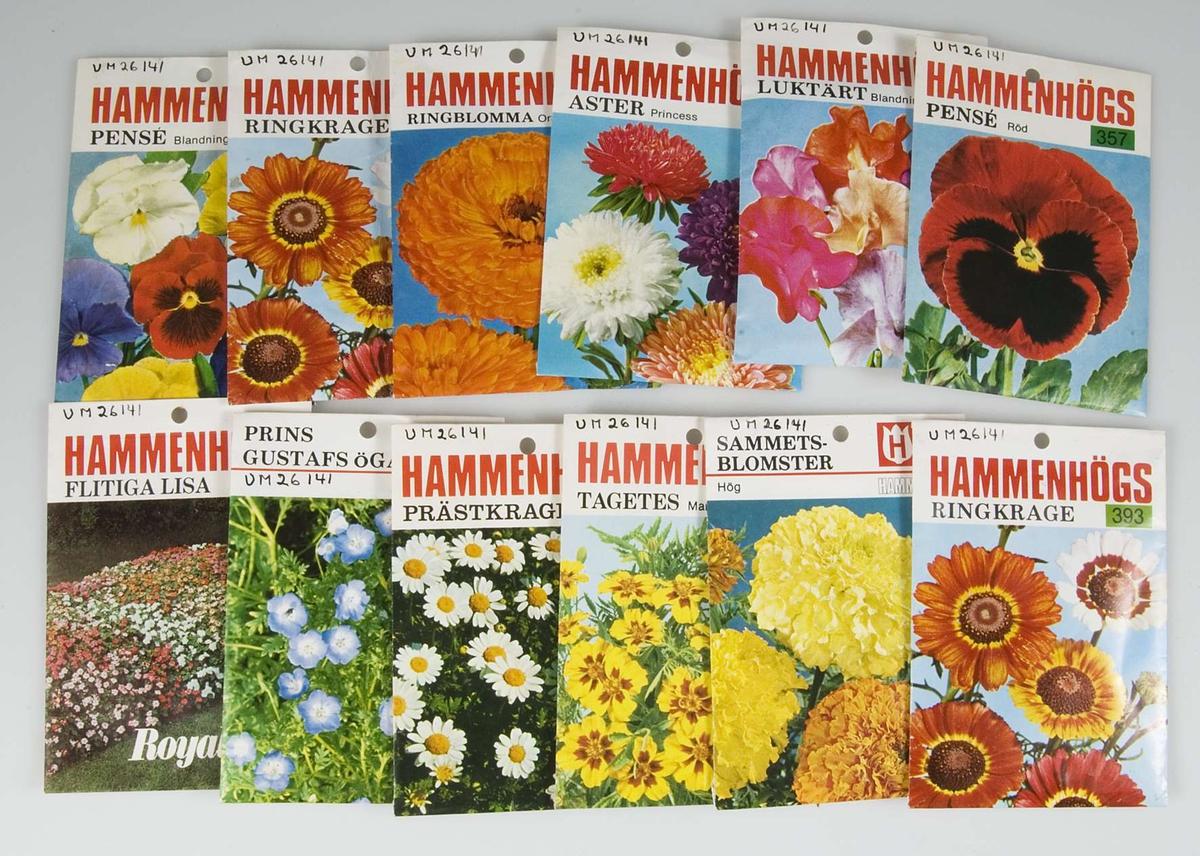 En samling förpackningar med trädgårdsfröer, 24 st, av papper med flerfärgstryck. Samtliga fröer har producerats av AB Hammenhögs Frö, Hammenhög. På varje förpackning bild av den växt vars frön finns i påsen samt tryckt text. Tre påsar med frön till persilja, två påsar brytböna, två påsar morot. Dill, vaxböna, skärböna och palsternacka, en påse av varje sort. Två påsar pensé, en röd och en blandade färger. Två påsar luktärter, en stor öppnad förpackning och en liten. Två förpackningar ringkrage. Prästkrage, Prins Gustafs öga, Flitiga Lisa, sammetsblomster, Tagetes, ringblomma och aster, en påse av varje sort.
