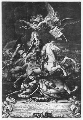 Print av Karl XII til hest i slaget ved Narva