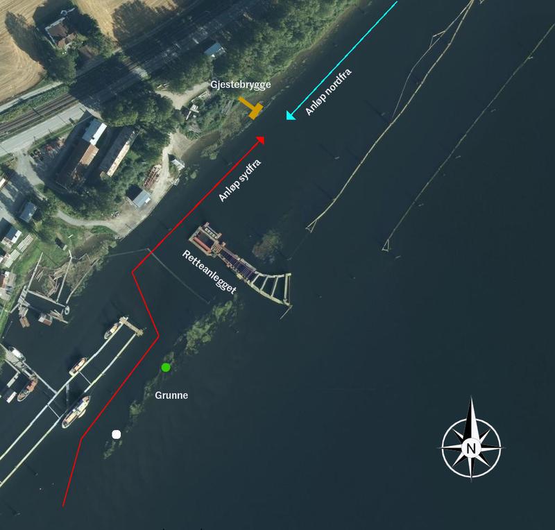 satelittbilde over tømmersorteringsanlegget