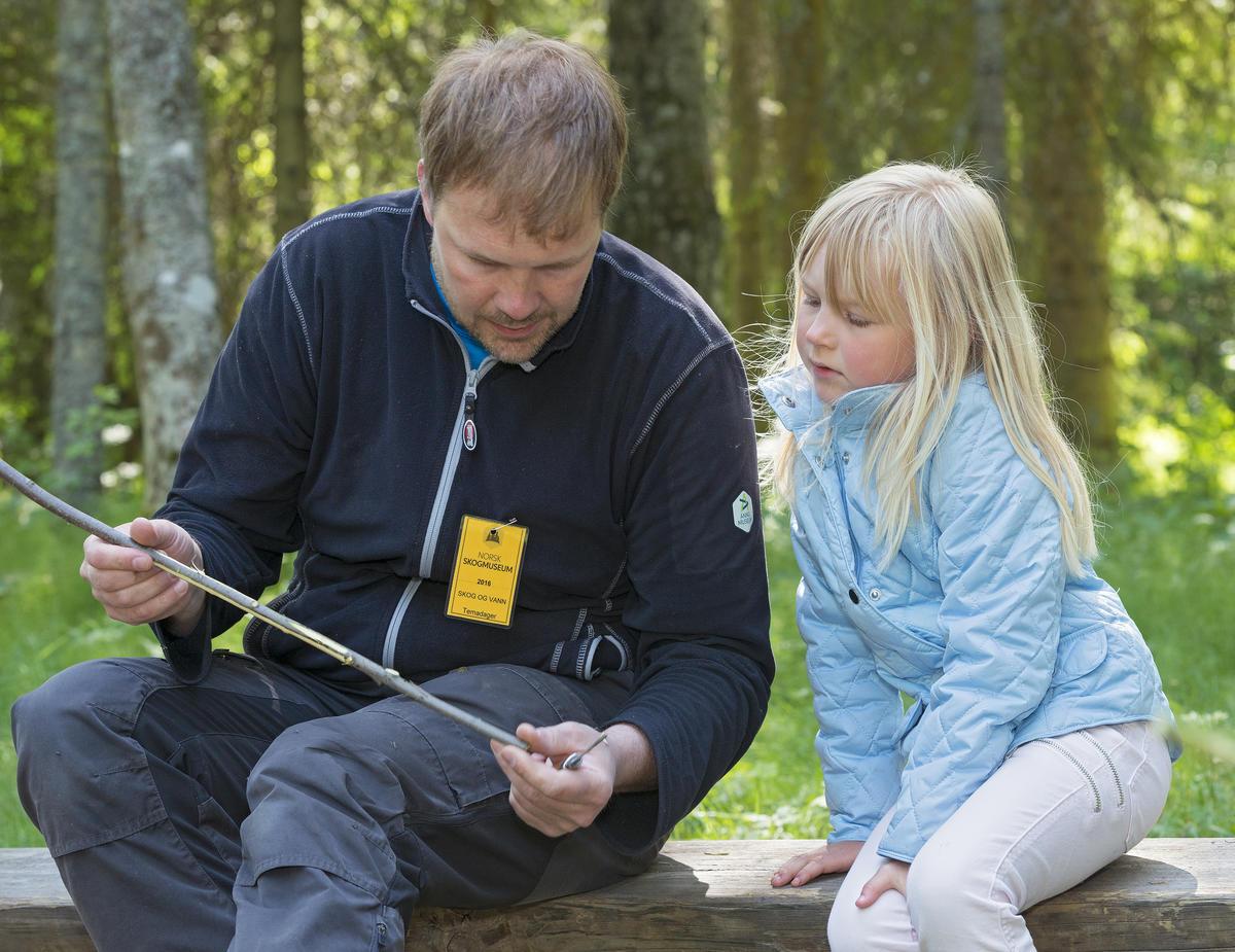 Stein Tore Andersen viser ei jente hvordan man spikker ei pil under Skog og Vann på Norsk Skogmuseum 9/6 2016