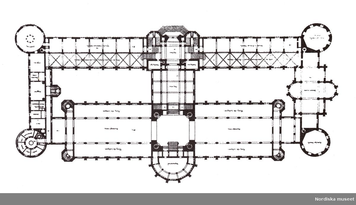 Arkitekten Isak Gustaf Clasons förslag, den stora versionen, till Nordiska museet, 1891. Plan av hallvåningen.