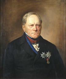 Portrett av Severin Løvenskjold  Mørk drakt, flere ordener, ordensbånd. Brun bakgrunn.