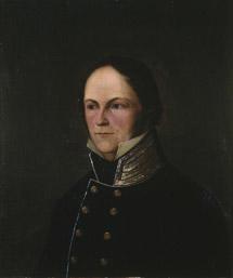 Portrett av Rosenkilde. Sort stathauptmannuniform, høy krave m/gullstriper, uten ordener.