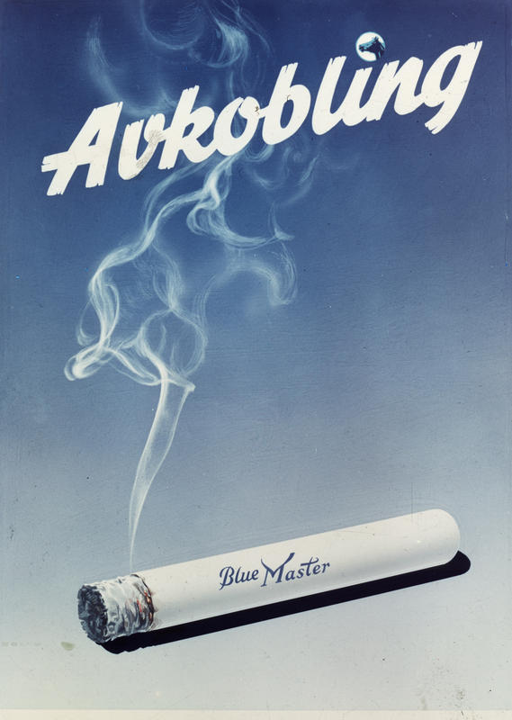 Reklameplakat fra Tiedemanns Tobaksfabrik. Blue Master sigaretter.