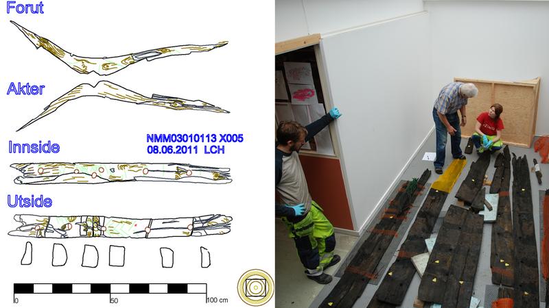 Båtdelene studeres og dokumenteres med digitale tegnemetoder i 1:1 av arkeologer i dokumentasjonslaboratoriet (DokuLab'en) på NMM.