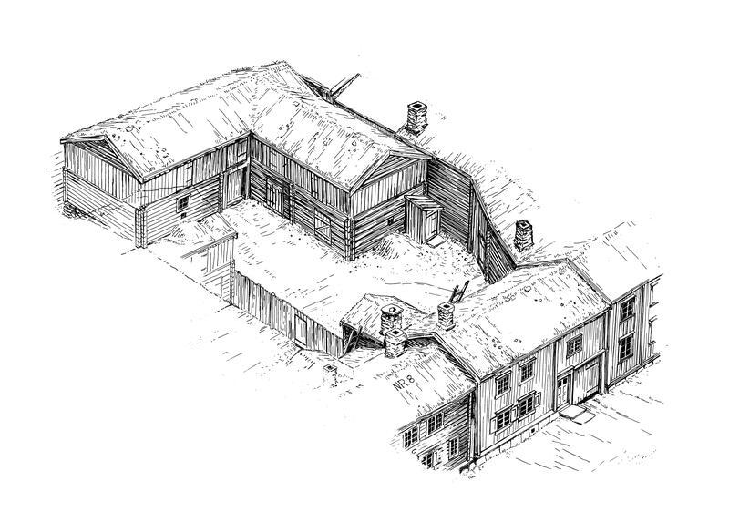 En typisk gård i bergstaden med våningshus med tilbygd eldhus, fjøs og gårdsstall, ferdasstall til skyssfolk og utedo. Illustrasjon: Sverre Ødegaard